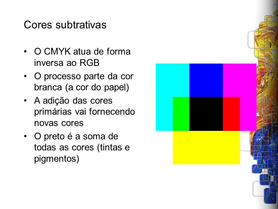 Cores subtrativas O CMYK atua de forma inversa ao RGB