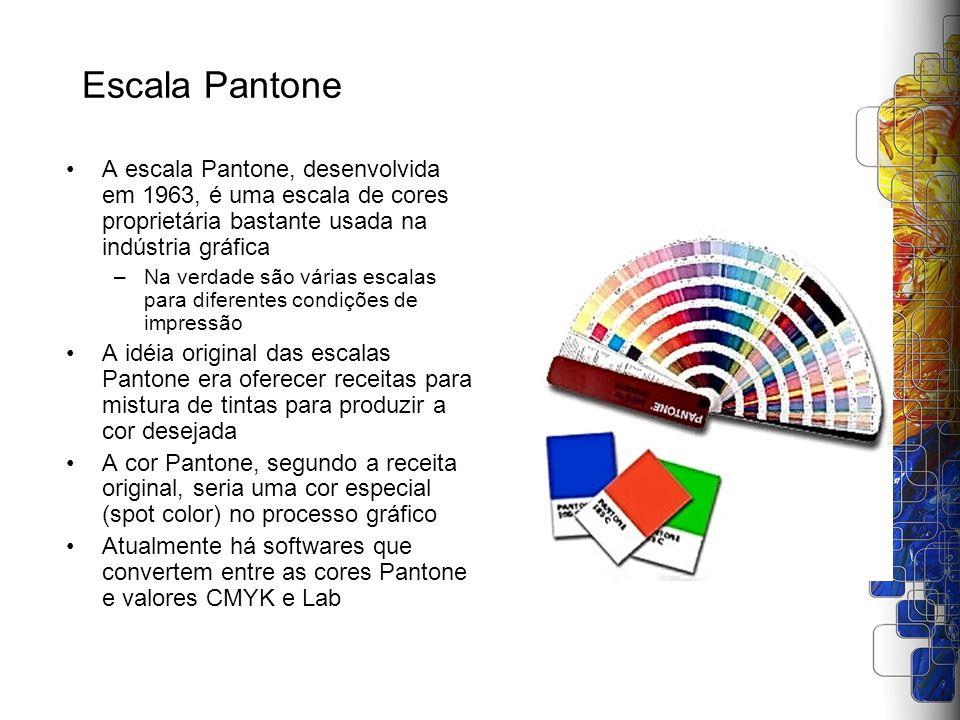 Escala Pantone A escala Pantone, desenvolvida em 1963, é uma escala de cores proprietária bastante usada na indústria gráfica.