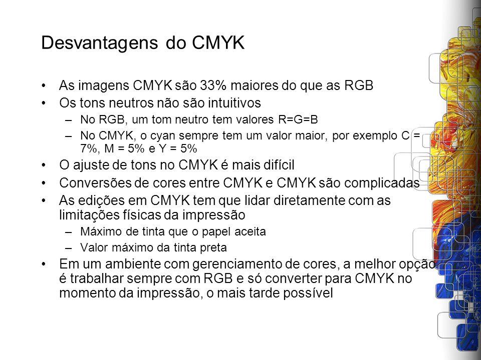 Desvantagens do CMYK As imagens CMYK são 33% maiores do que as RGB