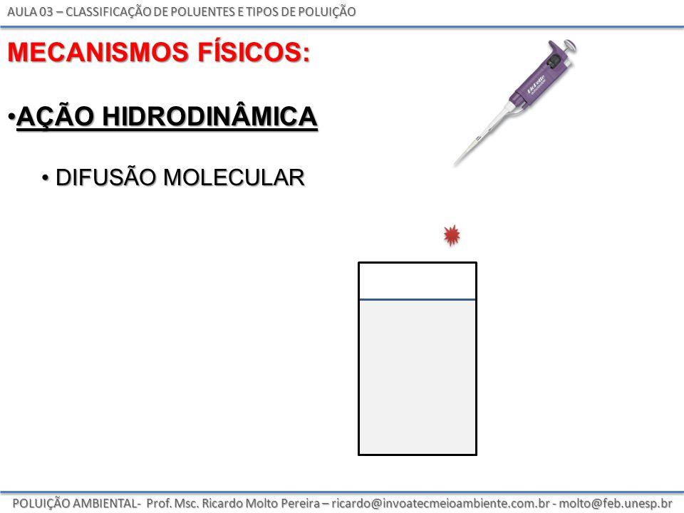 MECANISMOS FÍSICOS: AÇÃO HIDRODINÂMICA difusão molecular