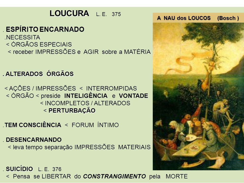 LOUCURA L. E. 375 A NAU dos LOUCOS (Bosch ) . ESPÍRITO ENCARNADO