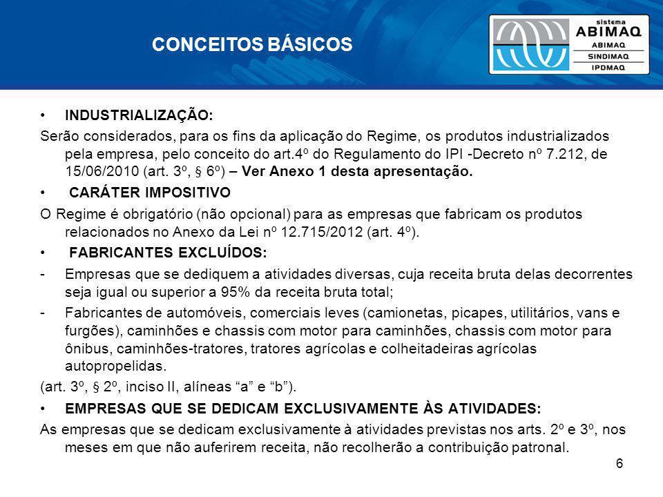 CONCEITOS BÁSICOS INDUSTRIALIZAÇÃO: