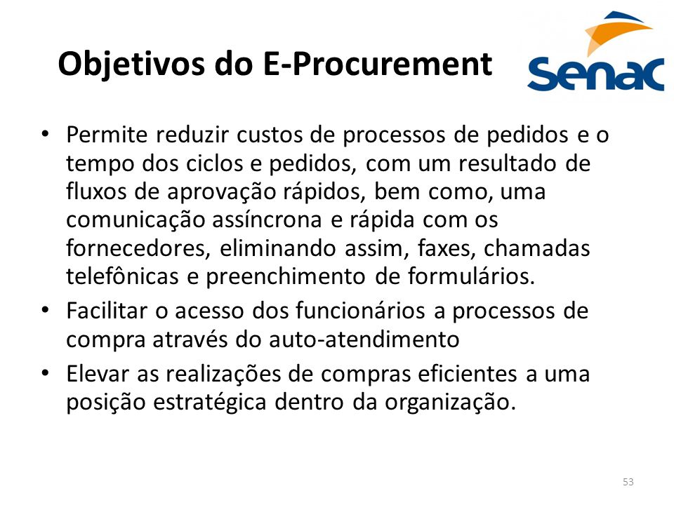 Objetivos do E-Procurement