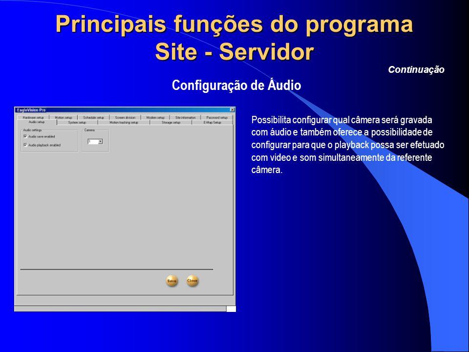 Principais funções do programa Site - Servidor