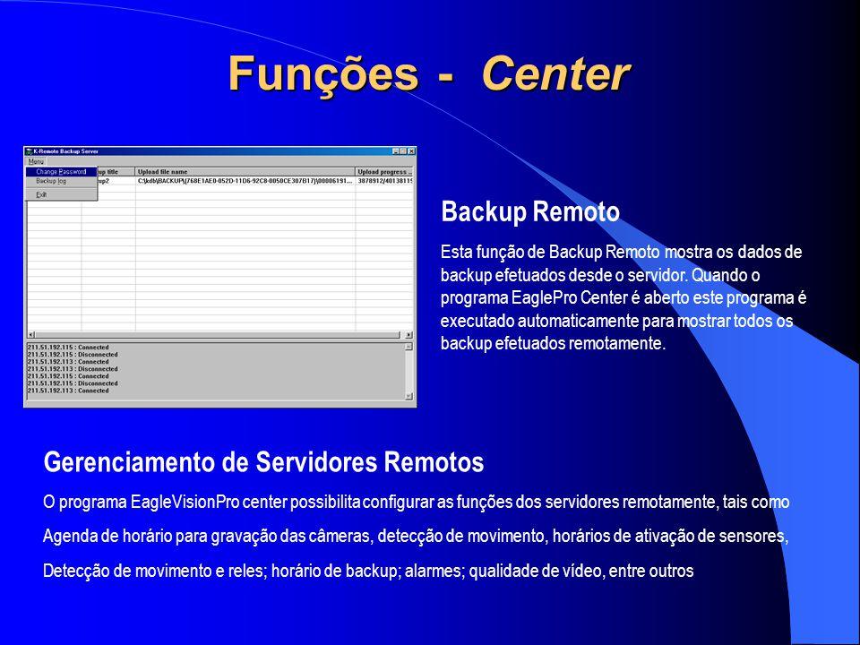 Funções - Center Backup Remoto Gerenciamento de Servidores Remotos