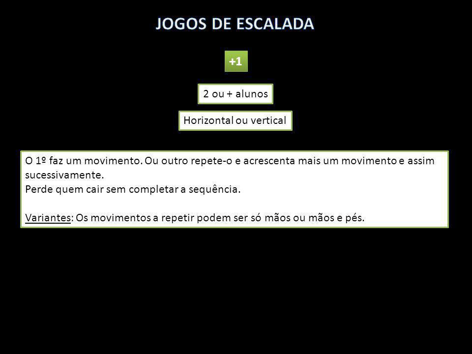 JOGOS DE ESCALADA +1 2 ou + alunos Horizontal ou vertical