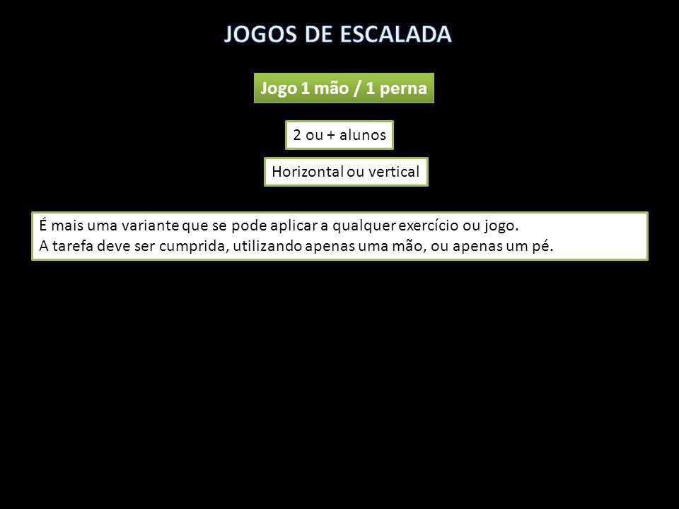 JOGOS DE ESCALADA Jogo 1 mão / 1 perna 2 ou + alunos