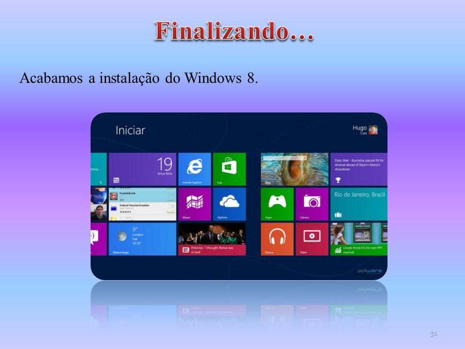 Finalizando… Acabamos a instalação do Windows 8.