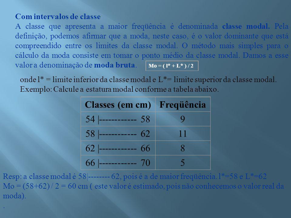Classes (em cm) Freqüência 54 |------------ 58 9 58 |------------ 62