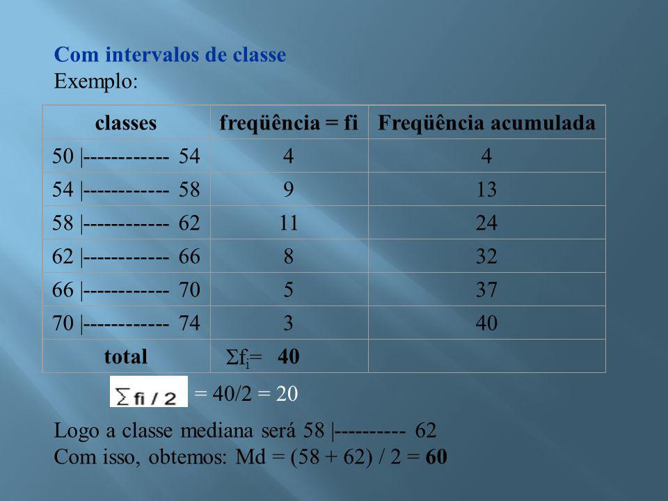 Com intervalos de classe