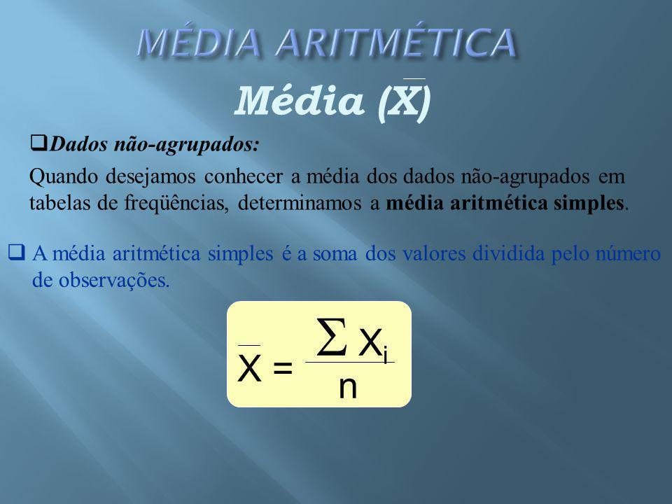 Xi Média (X) X = n Dados não-agrupados: