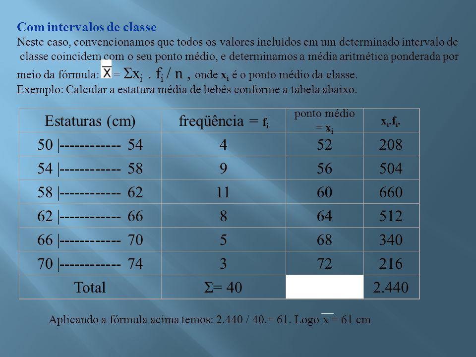 Estaturas (cm) freqüência = fi 50 |------------ 54 4 52 208