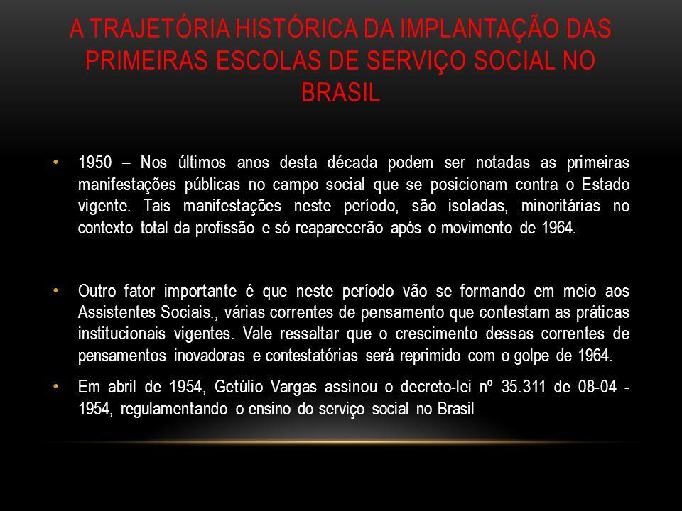 a trajetória histórica da implantação das primeiras escolas de serviço social no brasil