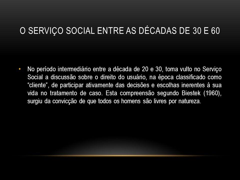 O serviço social entre as décadas de 30 e 60