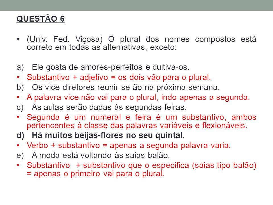 QUESTÃO 6 (Univ. Fed. Viçosa) O plural dos nomes compostos está correto em todas as alternativas, exceto: