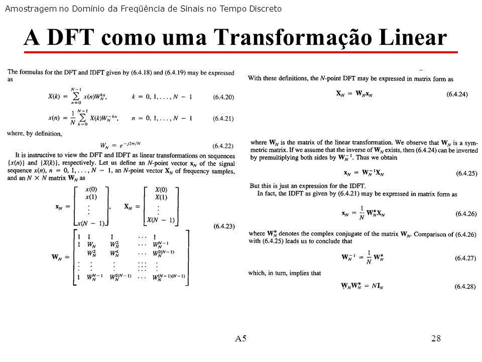 A DFT como uma Transformação Linear