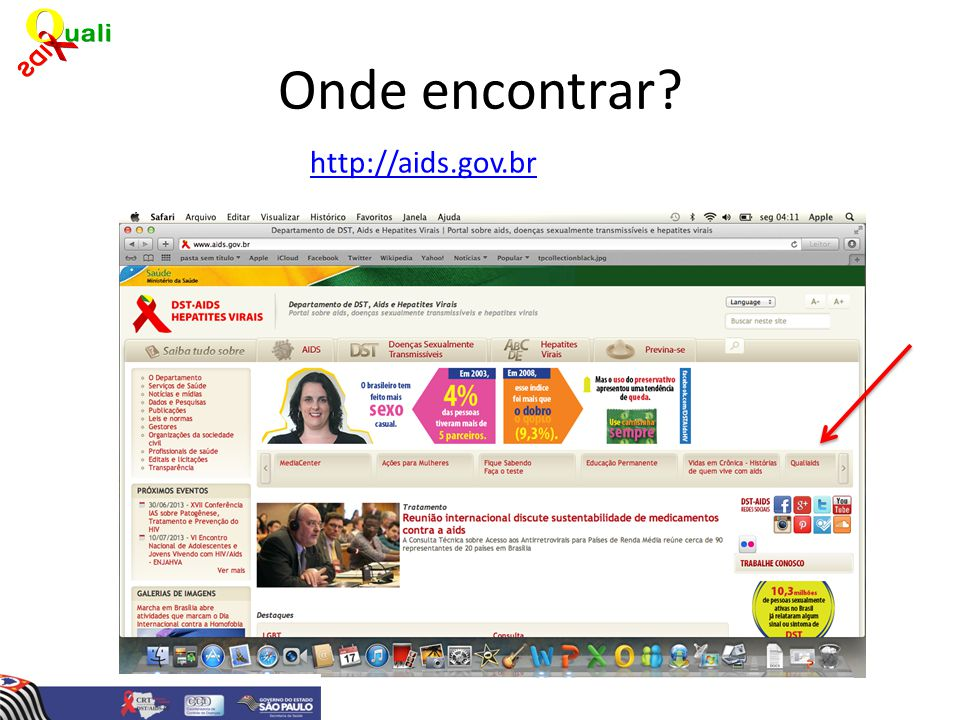 Onde encontrar http://aids.gov.br