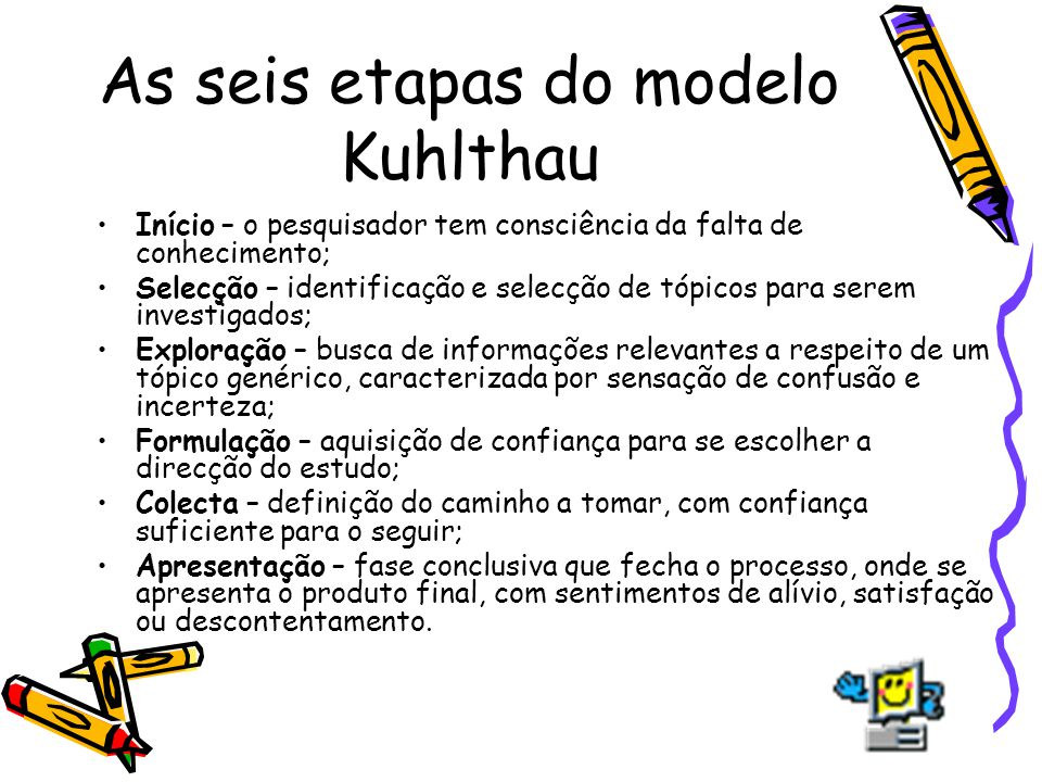 As seis etapas do modelo Kuhlthau