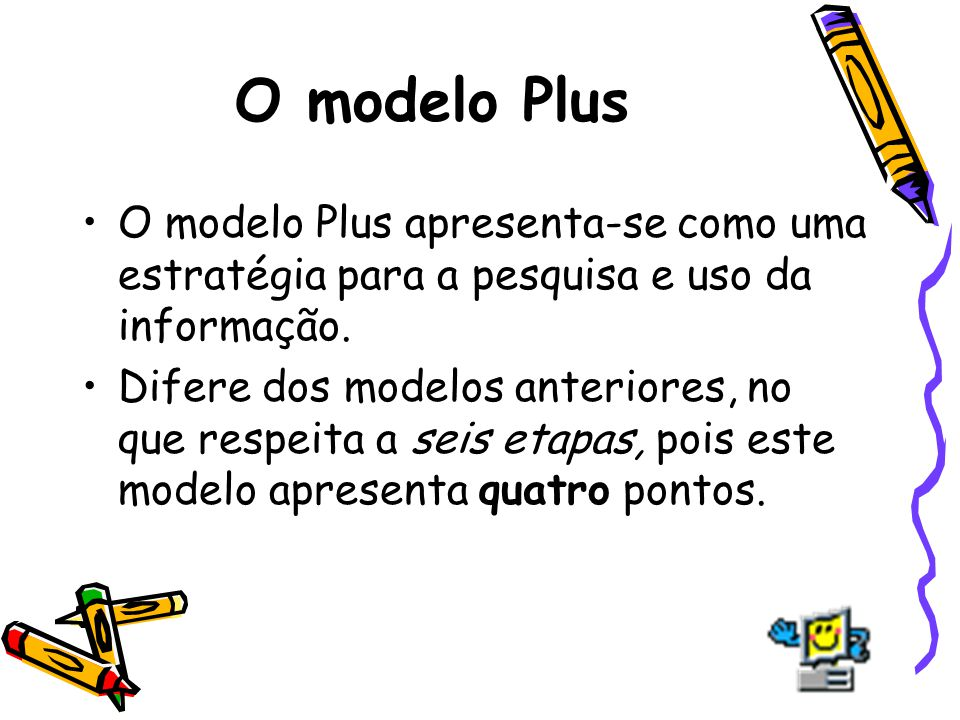 O modelo Plus O modelo Plus apresenta-se como uma estratégia para a pesquisa e uso da informação.