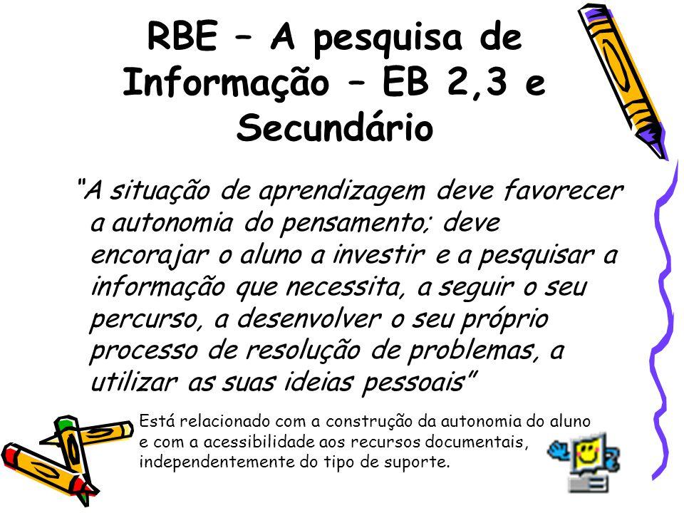RBE – A pesquisa de Informação – EB 2,3 e Secundário