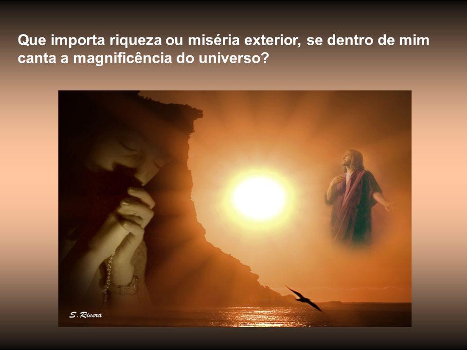 Que importa riqueza ou miséria exterior, se dentro de mim canta a magnificência do universo
