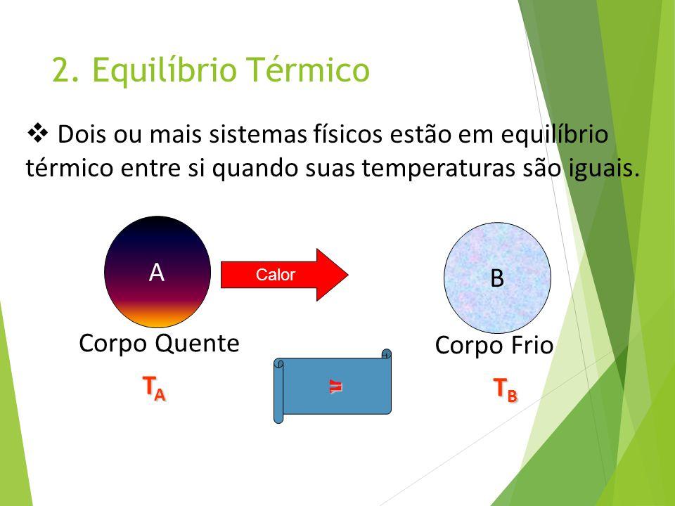 2. Equilíbrio Térmico Dois ou mais sistemas físicos estão em equilíbrio. térmico entre si quando suas temperaturas são iguais.