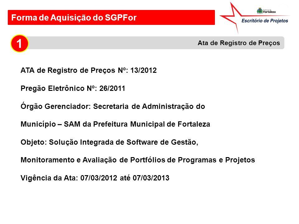 1 Forma de Aquisição do SGPFor ATA de Registro de Preços Nº: 13/2012