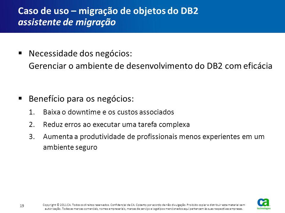 Caso de uso – migração de objetos do DB2 assistente de migração