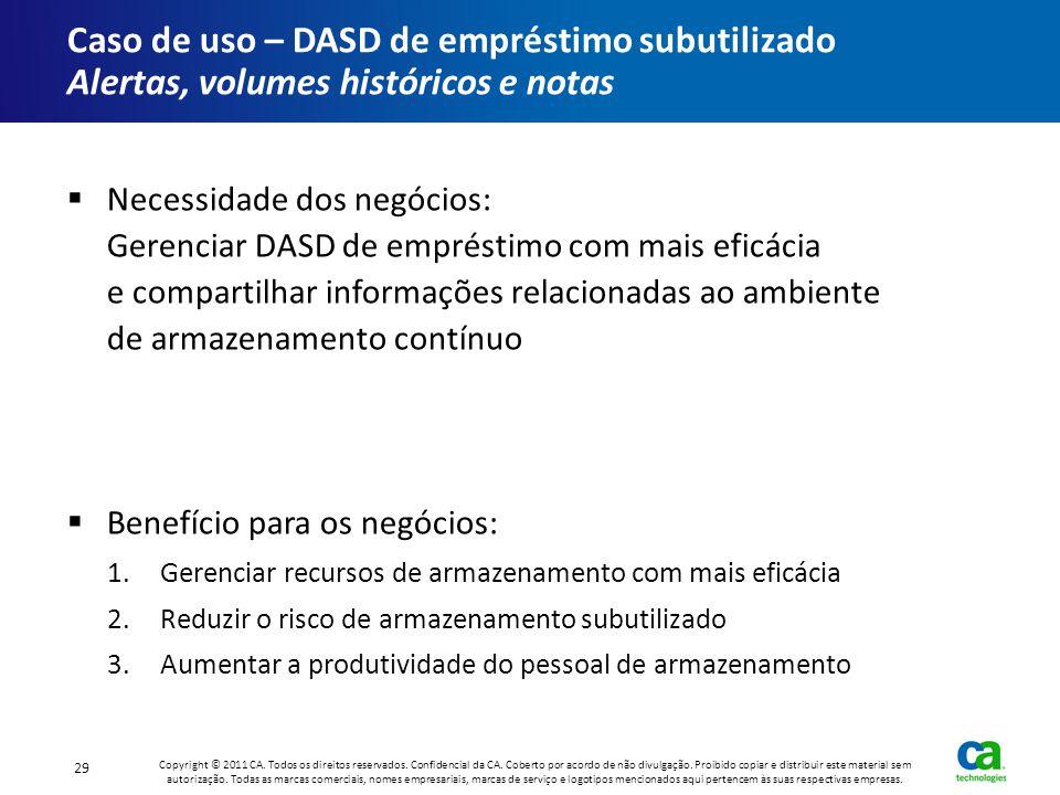 Caso de uso – DASD de empréstimo subutilizado Alertas, volumes históricos e notas