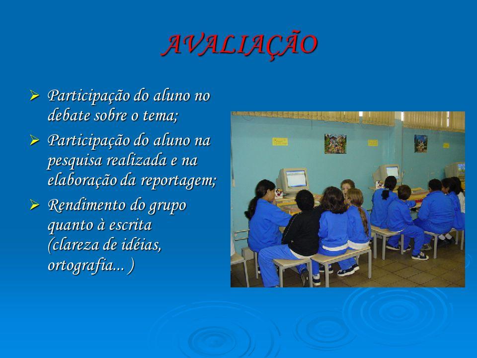 AVALIAÇÃO Participação do aluno no debate sobre o tema;
