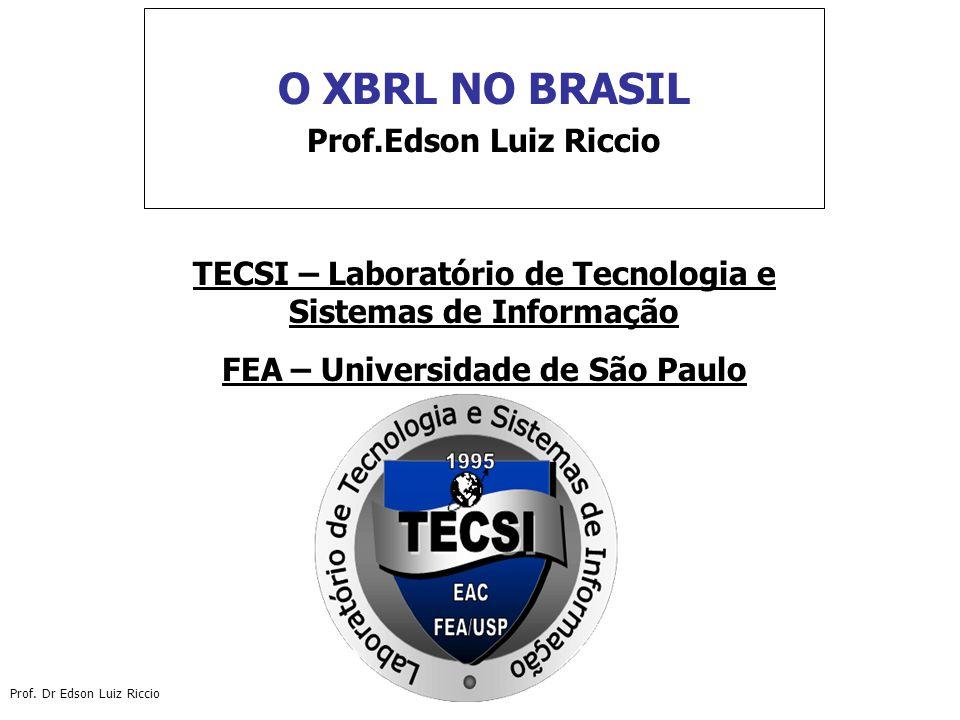 O XBRL NO BRASIL Prof.Edson Luiz Riccio