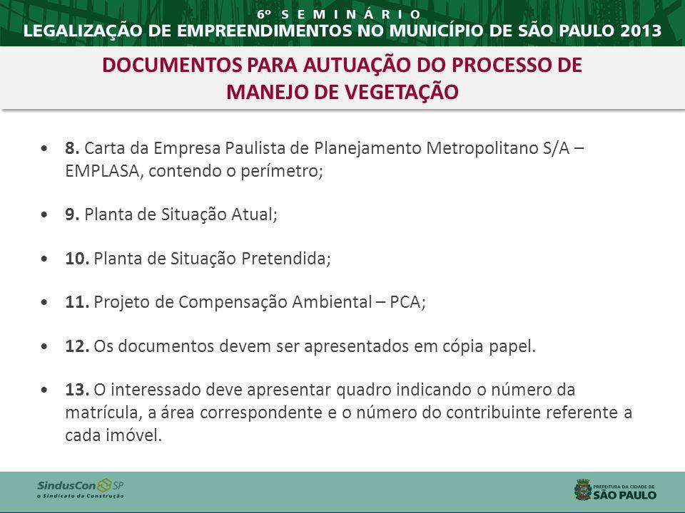 DOCUMENTOS PARA AUTUAÇÃO DO PROCESSO DE MANEJO DE VEGETAÇÃO