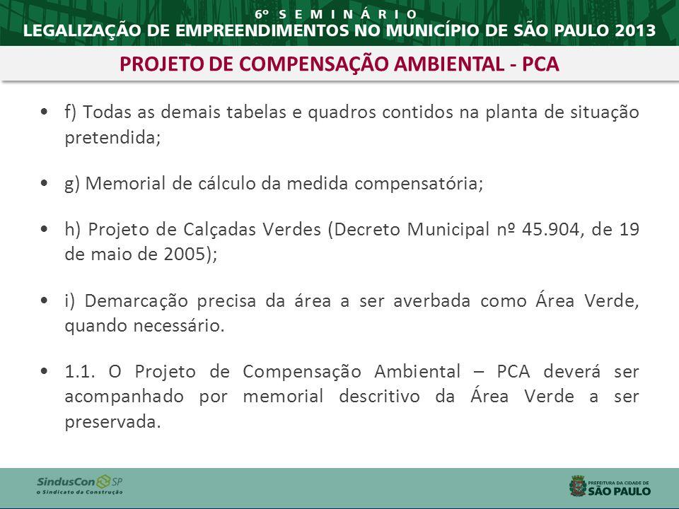 PROJETO DE COMPENSAÇÃO AMBIENTAL - PCA