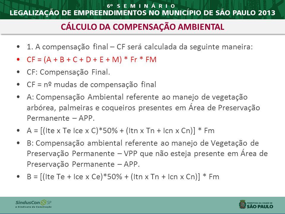 CÁLCULO DA COMPENSAÇÃO AMBIENTAL