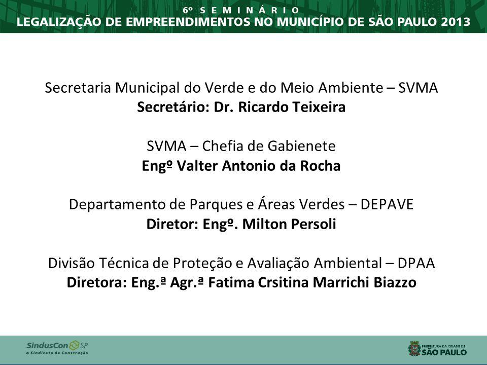 Secretaria Municipal do Verde e do Meio Ambiente – SVMA Secretário: Dr