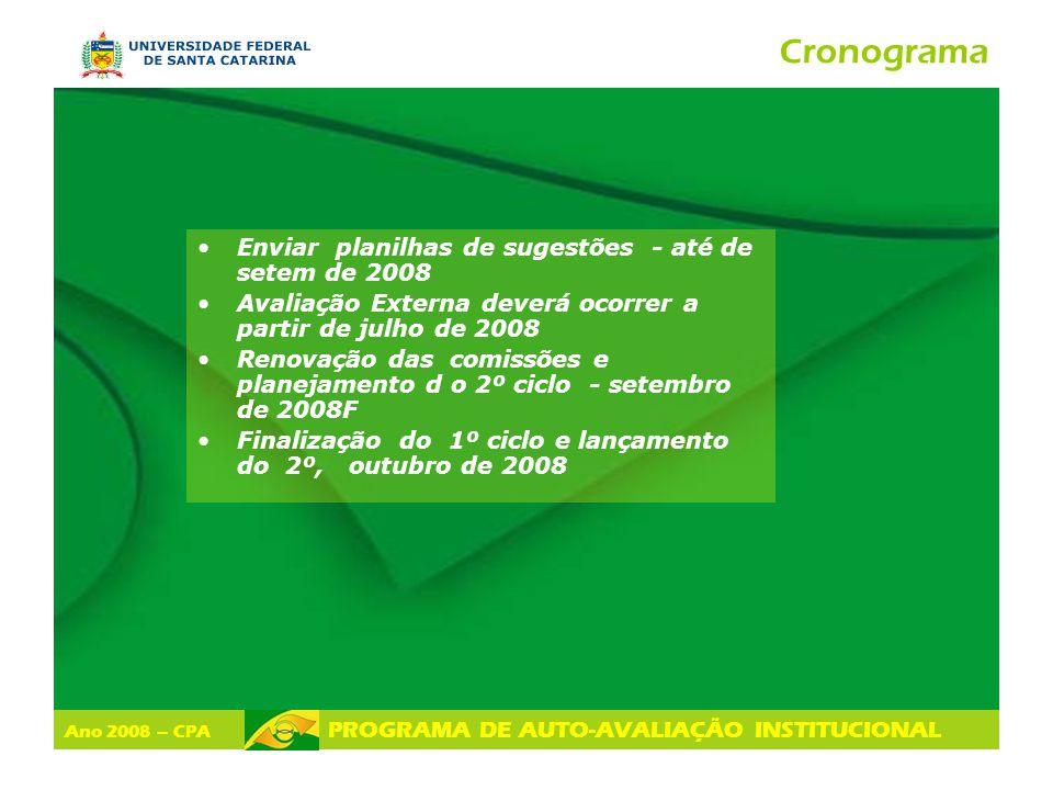 Cronograma Enviar planilhas de sugestões - até de setem de 2008