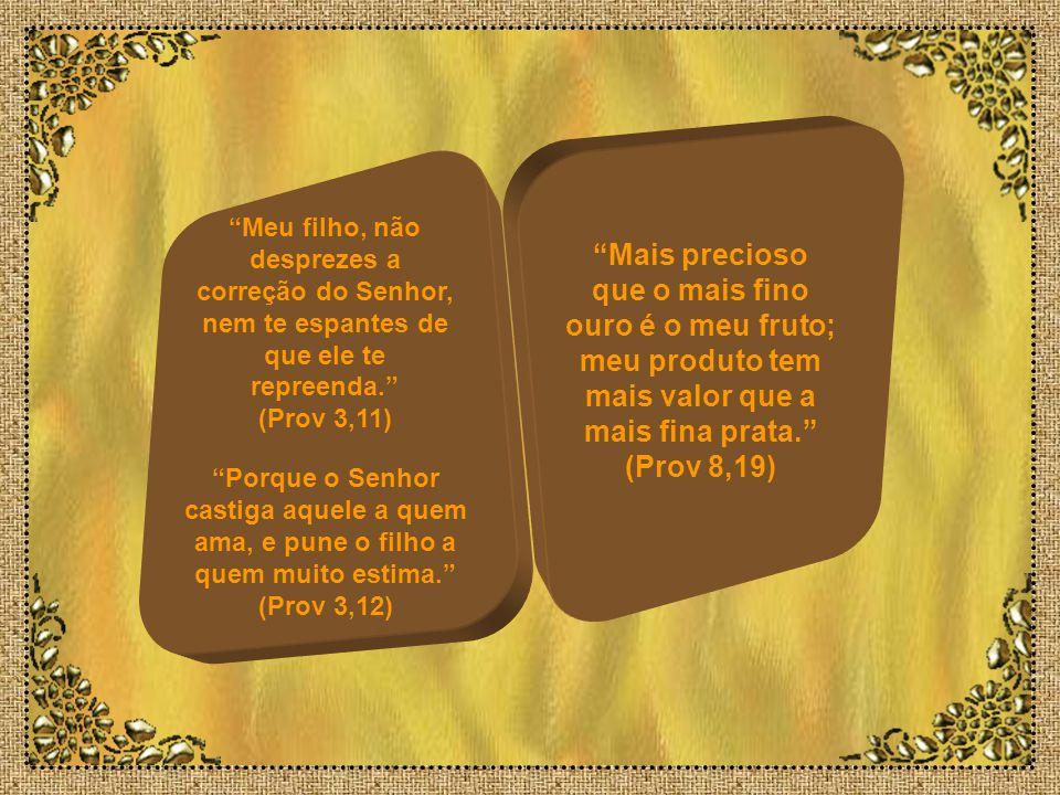 Meu filho, não desprezes a correção do Senhor, nem te espantes de que ele te repreenda. (Prov 3,11)