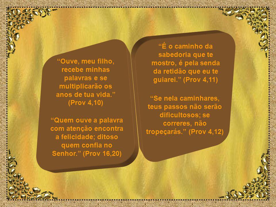 É o caminho da sabedoria que te mostro, é pela senda da retidão que eu te guiarei. (Prov 4,11)
