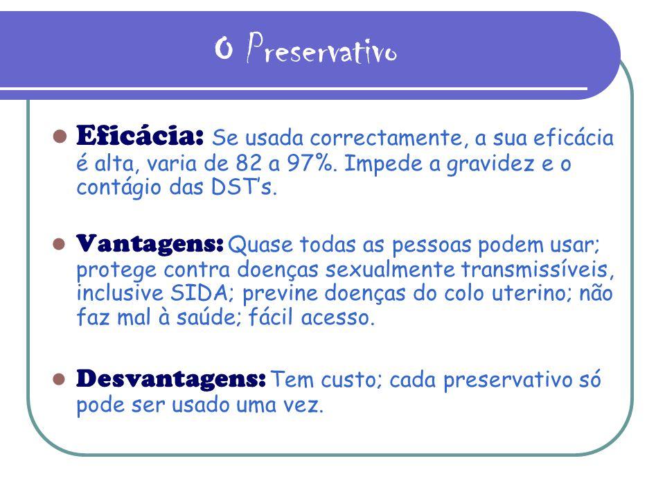 O Preservativo Eficácia: Se usada correctamente, a sua eficácia é alta, varia de 82 a 97%. Impede a gravidez e o contágio das DST's.