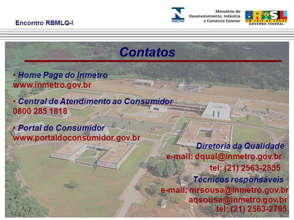 Contatos Home Page do Inmetro www.inmetro.gov.br