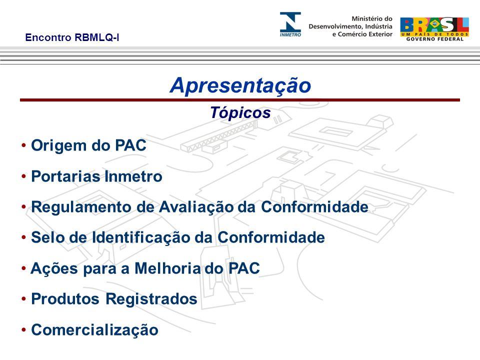 Apresentação Tópicos Origem do PAC Portarias Inmetro