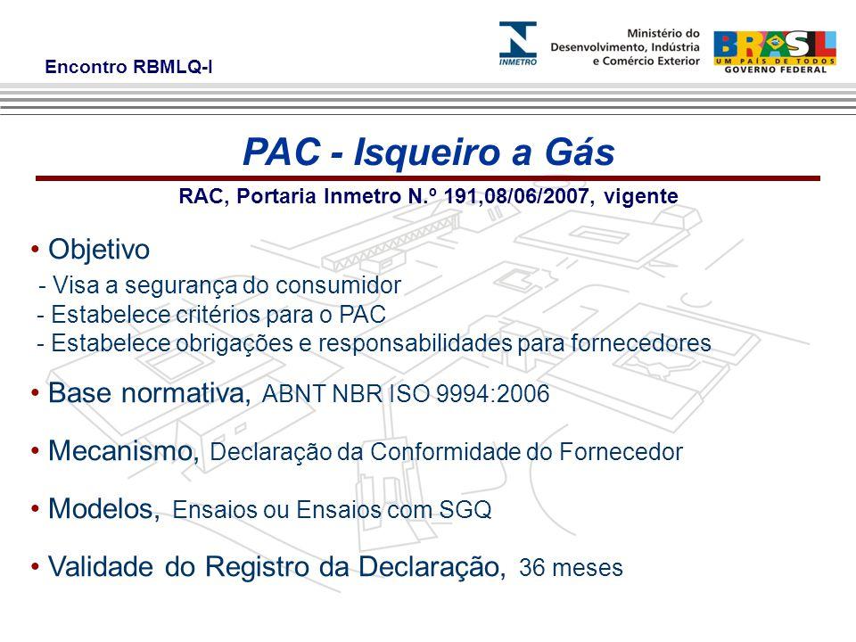 RAC, Portaria Inmetro N.º 191,08/06/2007, vigente