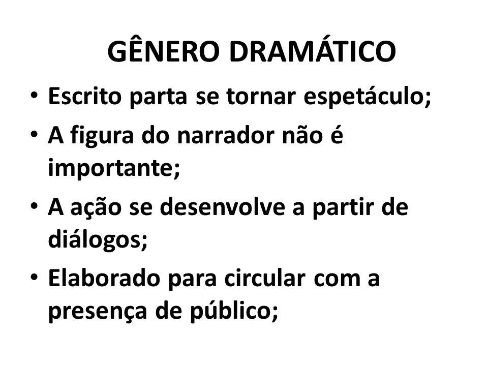 GÊNERO DRAMÁTICO Escrito parta se tornar espetáculo;