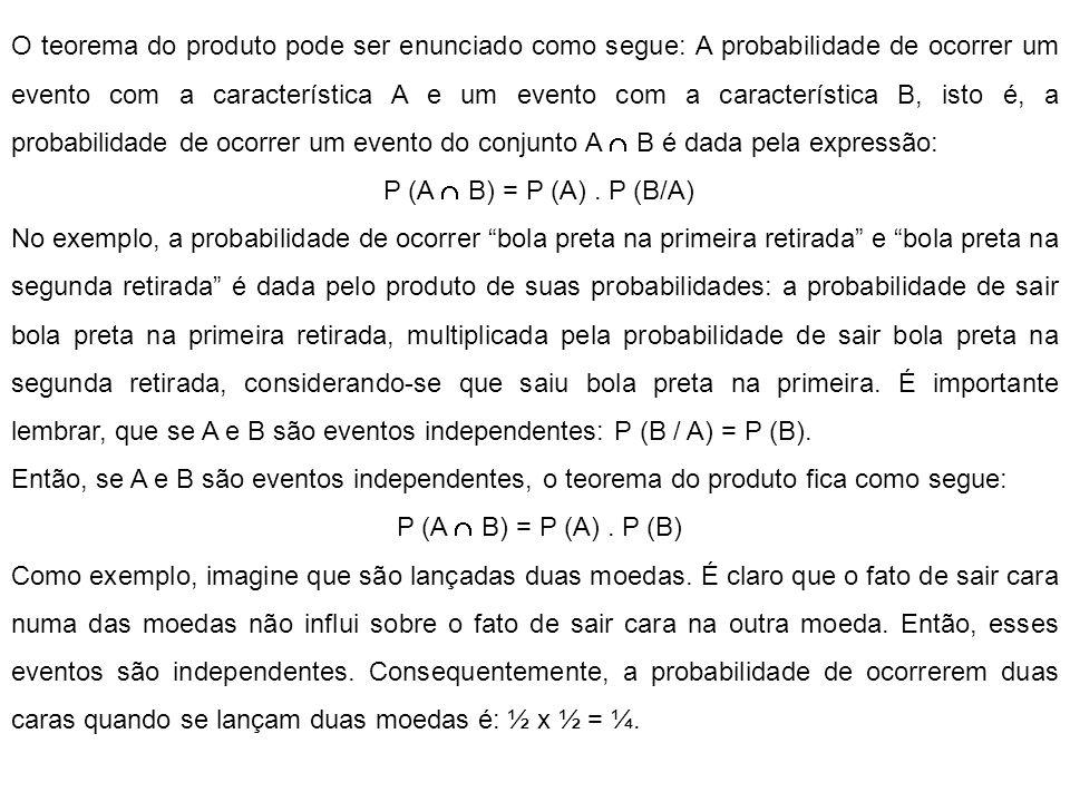 O teorema do produto pode ser enunciado como segue: A probabilidade de ocorrer um evento com a característica A e um evento com a característica B, isto é, a probabilidade de ocorrer um evento do conjunto A  B é dada pela expressão: