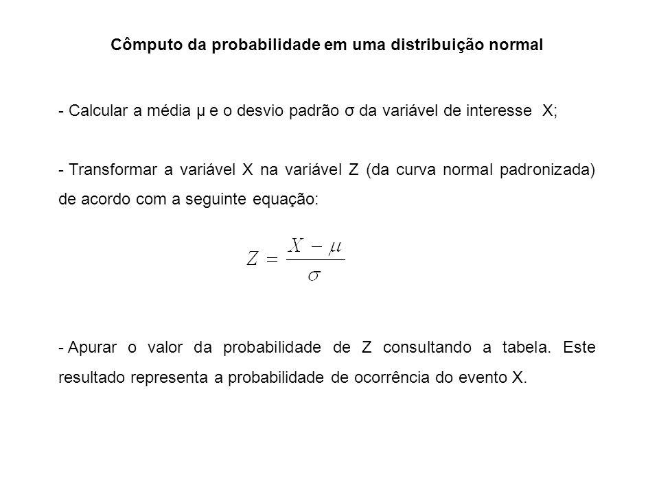 Cômputo da probabilidade em uma distribuição normal