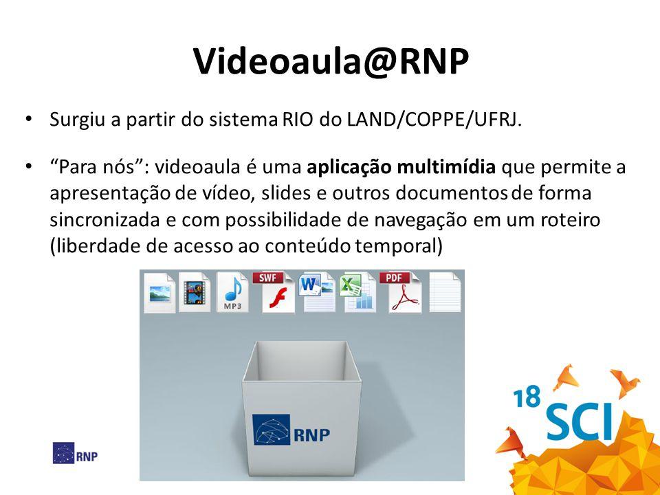 Videoaula@RNP Surgiu a partir do sistema RIO do LAND/COPPE/UFRJ.