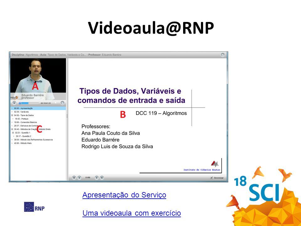 Videoaula@RNP Apresentação do Serviço Uma videoaula com exercício 4