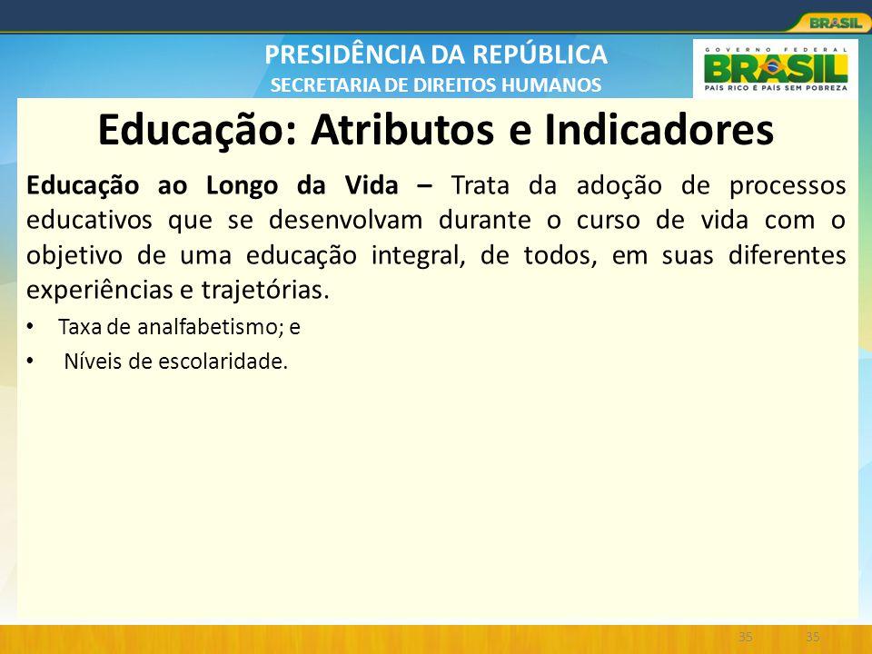 Educação: Atributos e Indicadores