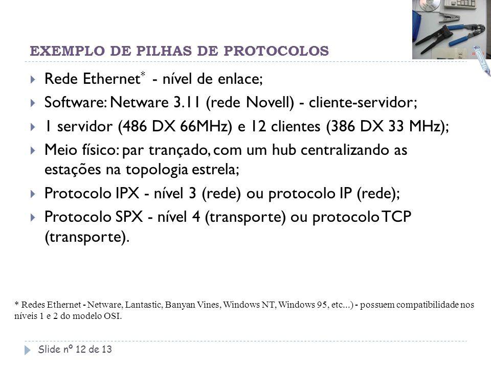 EXEMPLO DE PILHAS DE PROTOCOLOS