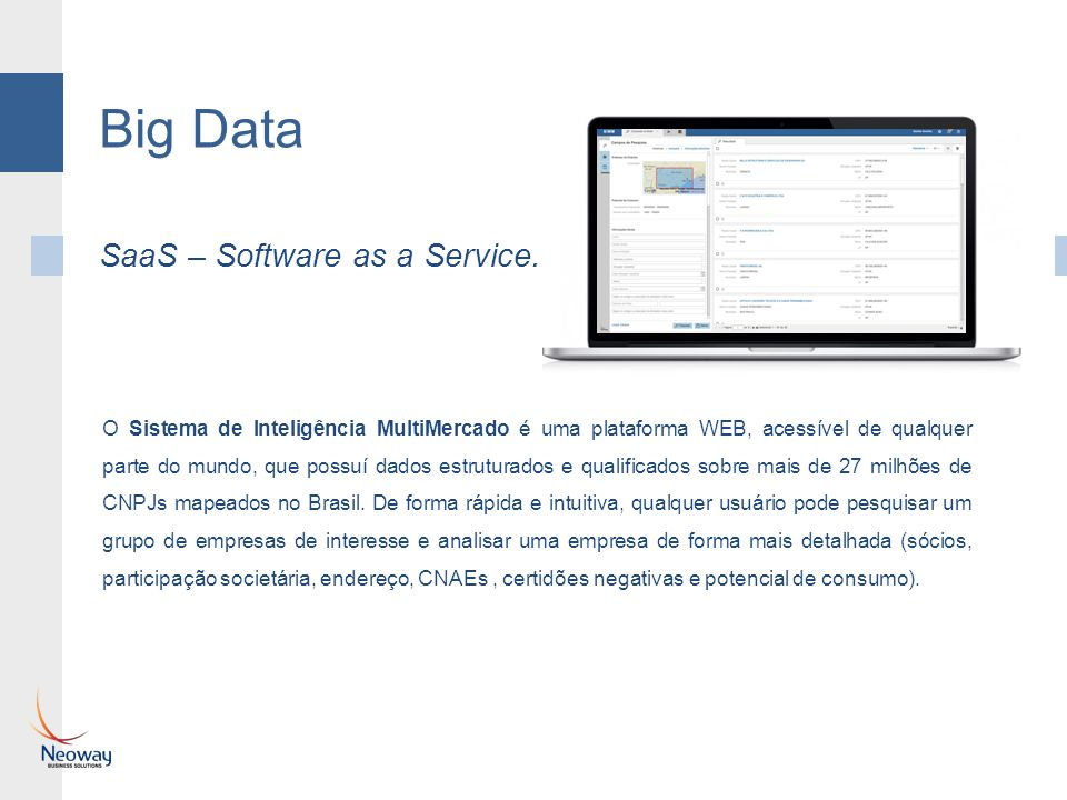Big Data SaaS – Software as a Service.